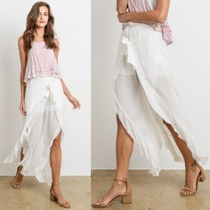 KHLOE Flutter Pants - WHITE